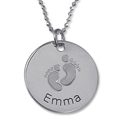 Baby Footprints sterling silver personalised necklace