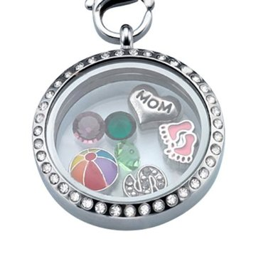 Round Floating Charm Locket with Bling