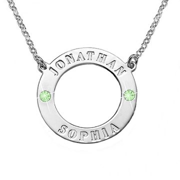 Engraved Circle with Birthstones Necklace for Mum