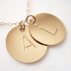 18kt Gold Plate Initial Disc Pendant