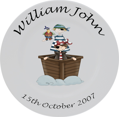Childs personalised plate - boys pirate ship
