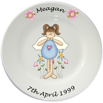 Child's personalised plate - Girls Blue Fairy