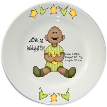 Baby personalised plate - green
