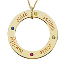 14kt gold medium loop mother pendant with birthstones