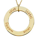 14kt gold medium loop engraved mother pendant