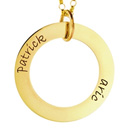 14kt gold small loop engraved mother pendant