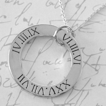Roman Numeral Pendant - sterling silver, personalised