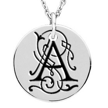 posh mommy sterling silver round vintage initial pendant
