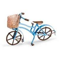 Miniature Blue Bike with Straw Basket Fairy Garden