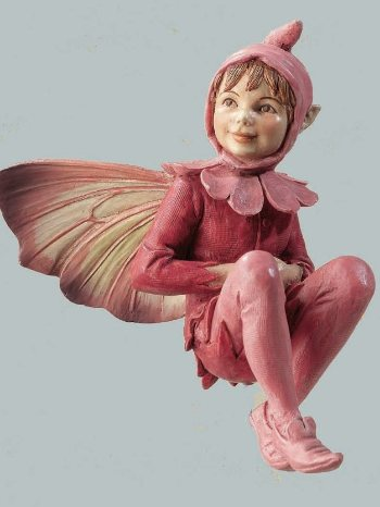 Red Campion Flower Fairy Figurine