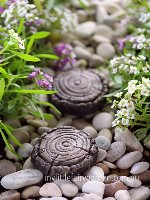 Miniature Fairy Garden Faux Wood Stepping Stone Set 2