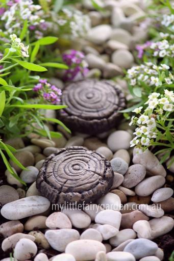 Miniature Fairy Garden Faux Wood Stepping Stone Set 2