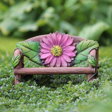 Flower Log Bench Miniature Fairy Garden