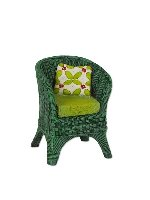 Miniature Merriment Mini Green Wicker Chair