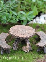 Miniature Log Table and Chairs Fairy Garden