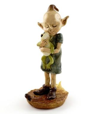 Pixie Hugging Frog Miniature Fairy Garden