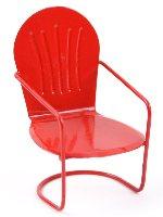 Miniature Red Glider Chair Fairy Garden
