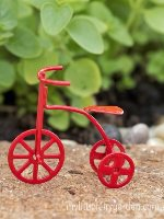 Miniature Red Tricycle Fairy Garden