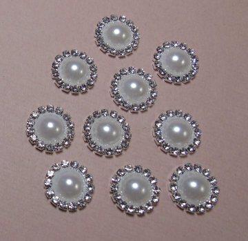 15mm Rhinestone Pearl