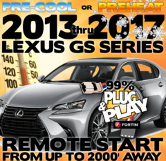 Plug and Play Remote Starter for 2013, 2014, 2015, 2016, or 2017 Lexus GS 450h GS 350 GS 200t