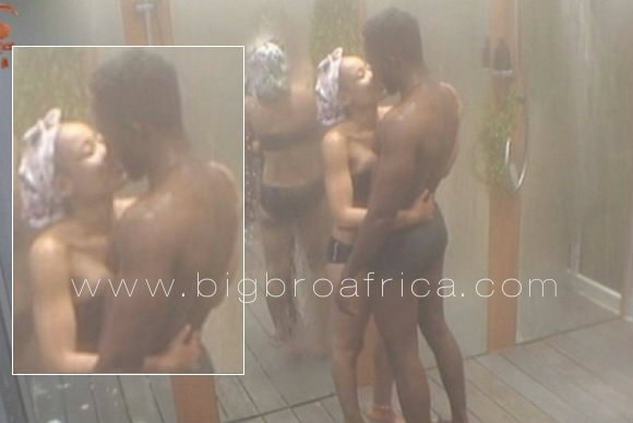 Nina and Miracle kissing during the shower hour