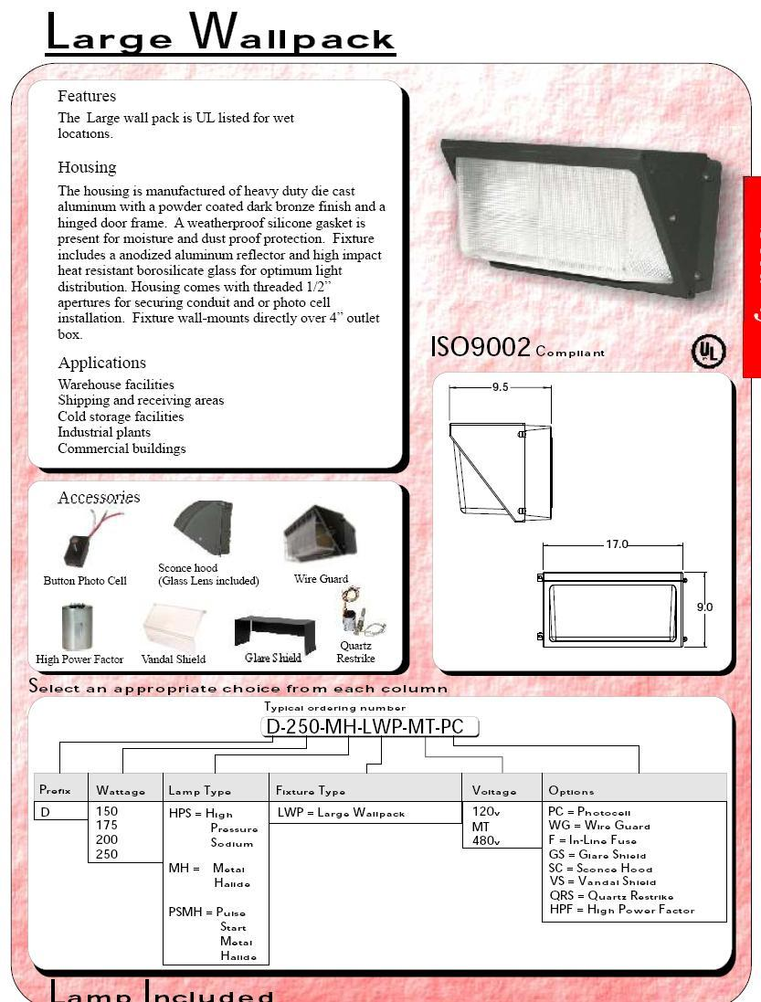 250 wall metal halide wall pack