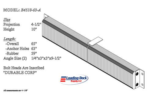 4.5 x 10 x 63  long dock bumper
