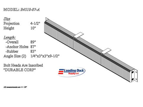 4.5 x 10 x 87  Laminated dock bumper extra long