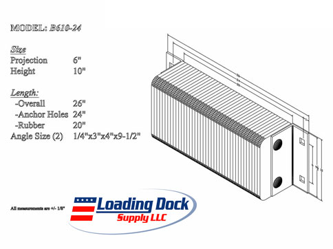 B610-24 - Dock Bumper 6 x 10 x 24