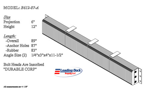 6 x 12 x 87 Extra Length Dock Bumpers