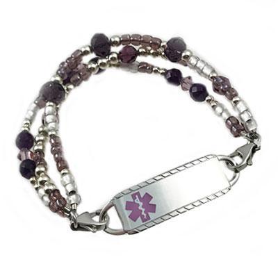 Duchess amethyst triple strand, medical alert bracelet free engraved tag