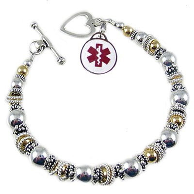 Silver Fire & Ice Medical Charm Bracelets