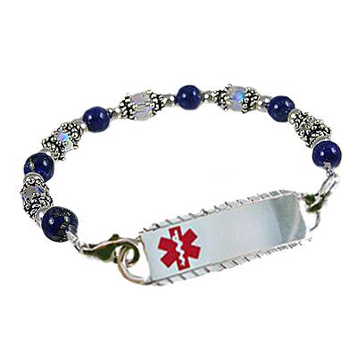 Silver and Crystal Beaded Medical Alert Bracelet