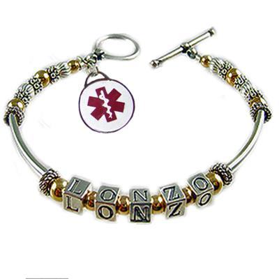Mother's Two-Tone Medical Charms
