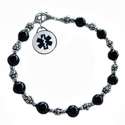 Classic Black Medical Charm Bracelets