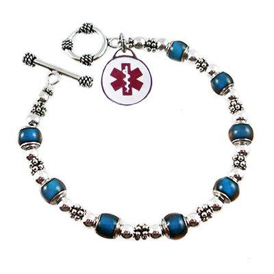 Silver Color Changes Medical Charm Bracelets