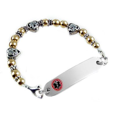 Two-Tone Treasured Hearts Medical ID Bracelets