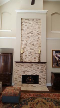 Fireplace Remodel with Mantle & Logs