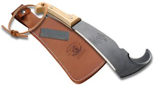 Woodman's Pal Classic with treated leather sheath and stone