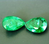 oil only zimbabwe emerald vivid green pear shape near 2 carat with matching sister