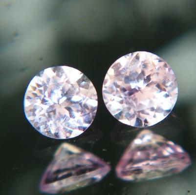 round no-heat sapphires as pair light pink