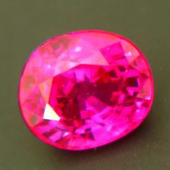 Neon red Burmese ruby without any inclusions even under the lens untreated