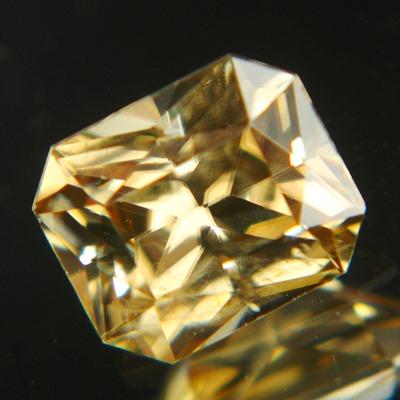 unheated golden zircon from Sri Lanka in rectangular princess cut