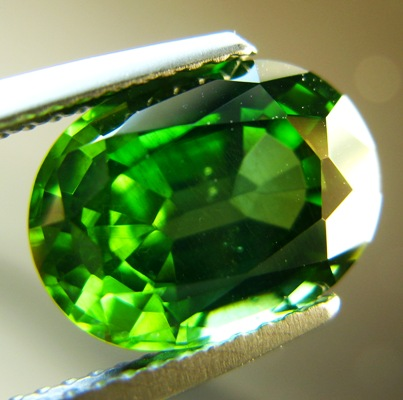 Fresh cress green Ceylon Zircon.