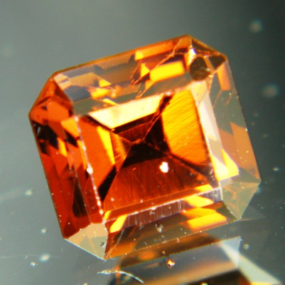 darkest orange octagon Mozambique tourmaline