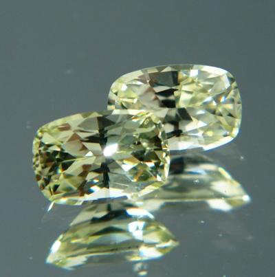 Bright pure yellow pair of Ceylon sapphire