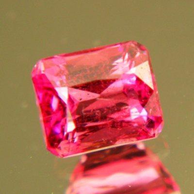 neon red pink Mozambique Rubellite precision cut