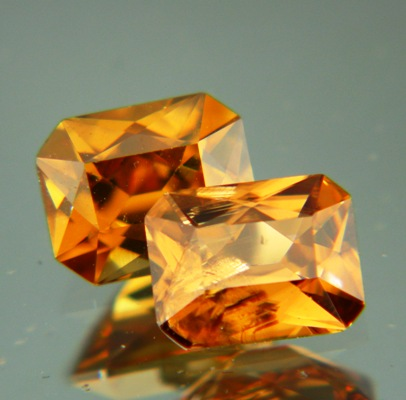 Pair of cognac Australian Zircon.