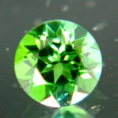 small mint green tourmaline round brilliant cut in germany