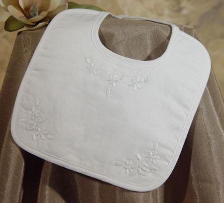Cotton Broadcloth Bib W/Hand Embroidery